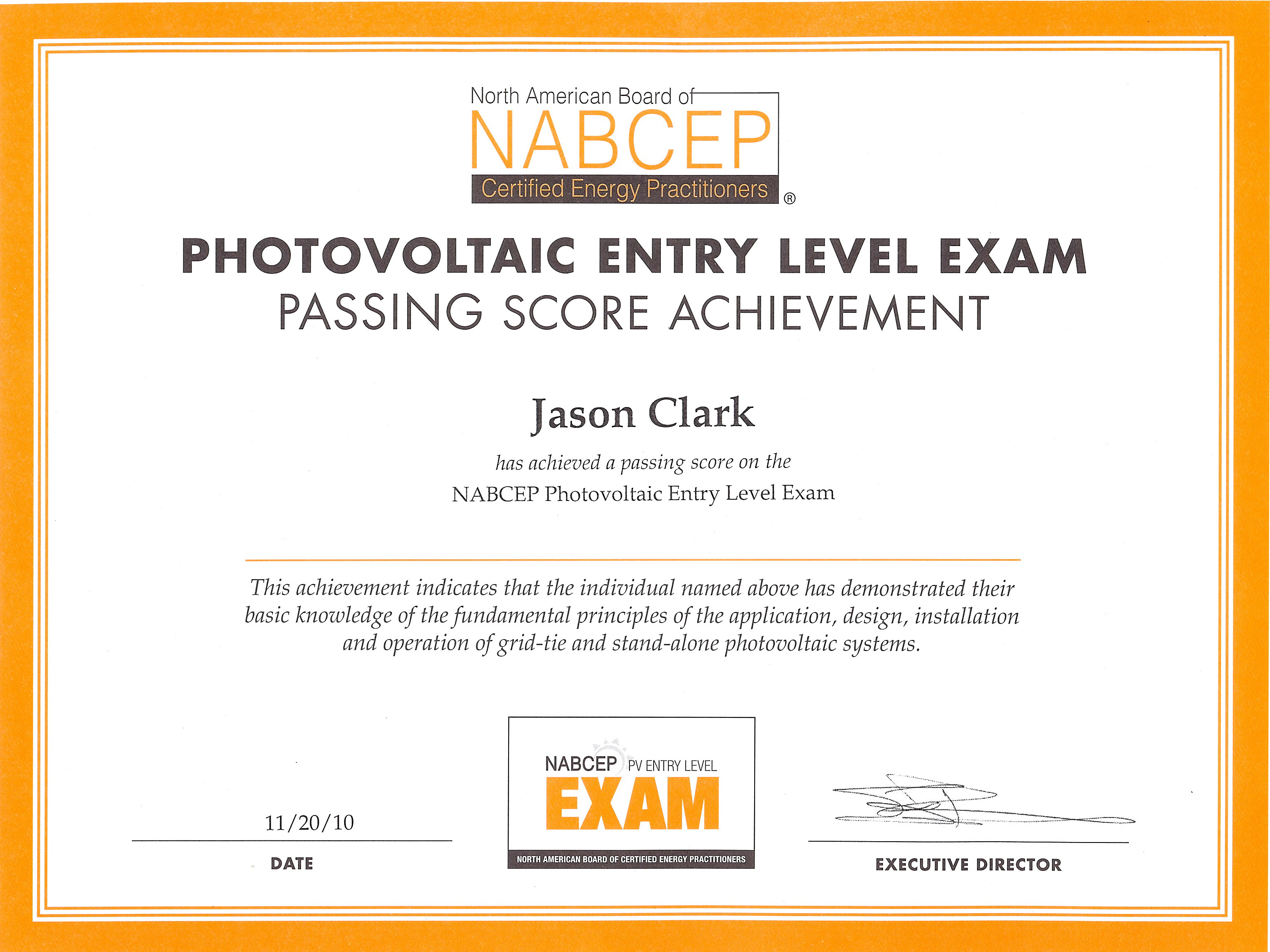 nabcep certification level energy entry certified construction north certifications board american modern photovoltaic hudson jason clark valley practitioners operation tie